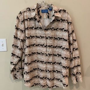 Natural Reflections Corduroy Horse Print Blouse M